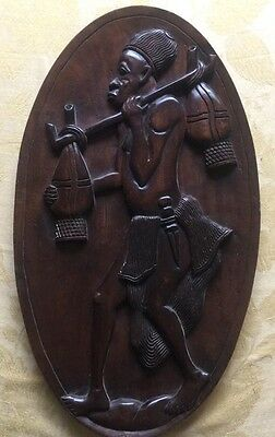 Antique old vintage hand carved wooden art wall hanging