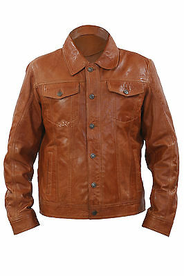 Infinity Mens Retro Style Slim Fit Casual Tan Leather Shirt Jeans Jacket