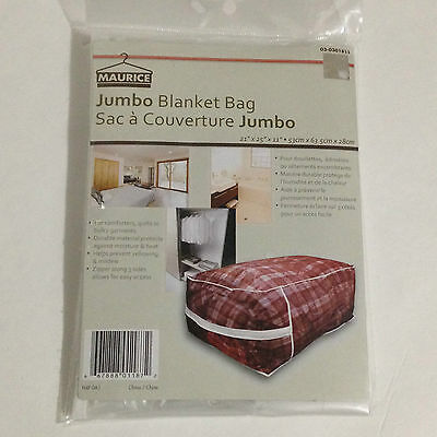 "New Clear Plastic Zippered Jumbo Blanket Comforter Quilt Storage Bag 21""x25""x11"""