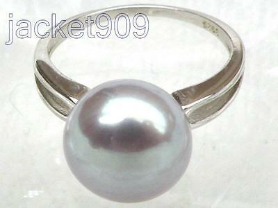 PRETTY genuine 11mm AAA+++ gray bread south sea pearl ring sterling silver 7#