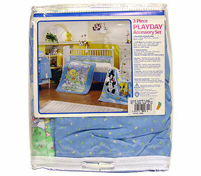 3pc Crib Bedding Set Blanket Crib Skirt Diaper Stacker Baby Looney Tunes PD New