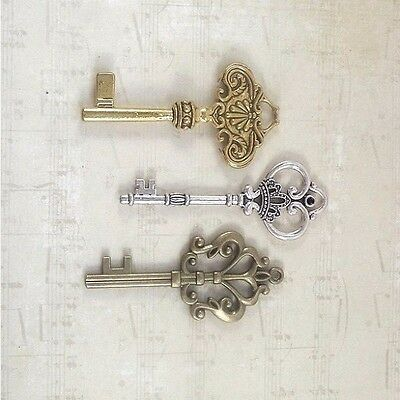 9 christmas keys all 3 inches 3 colors silver gold bronze heavy antique old look