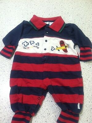 #1218 First Moment Blue Red White Stripe 1 Pc Outfit Boy Infant 3/6 Mo Airplane