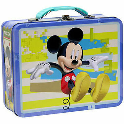 Tin Metal Lunch Snack Toy Box Embossed Disney Mickey Mouse NEW