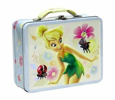 Tin Metal Lunch Snack Toy Box Embossed TINKERBELL Fairy & Ladybug New