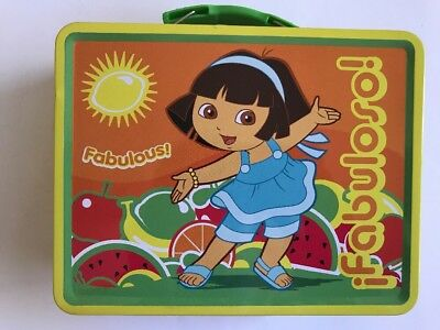 Tin Metal Lunch Snack Toy Box Embossed DORA the Explorer Fabuloso NEW