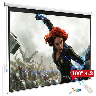 100'' 4:3 HD Movie Theater Electric Remote Control Projection Screen Matte White