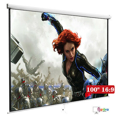 100'' 16:9 Manual Projection Screen Pull Down Projector Home Movie Matte White