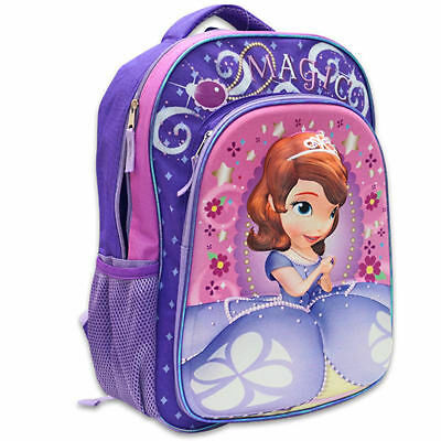 """Backpack 16"""" Pop Out 3D Disney Princesss Sofia The First Violet New"""