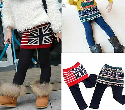 Girls Winter Knitted Skirt Style Leggings Super Soft Extra Warm Age 18M - 6Y