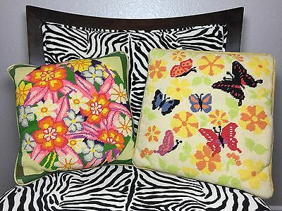 Needlepoint Pillows Butterflies And Flowers Set Vintage