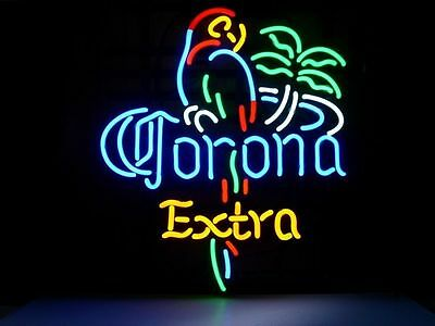 "Corona Extra Parrot Real Glass Neon Light Classic Art Home Beer Bar Sign 17""x14"""