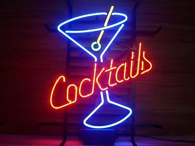 "Cocktails Martini Real Glass Neon Light Sign Home Beer Bar Cocktail Sign 17""x14"""