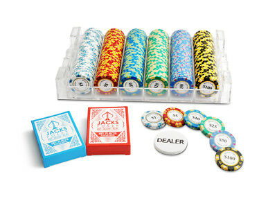 300 Chips Poker Game Set Acrylic Rack Monte Carlo 14g Chips 100% Plastic Cards