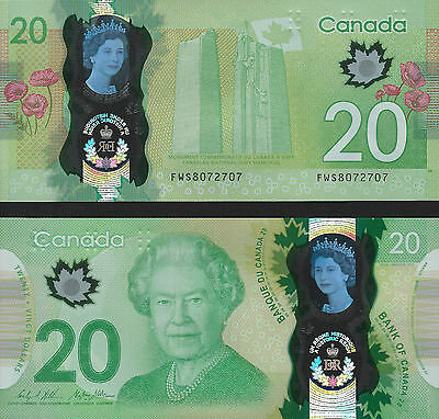 2015 Commemorative 20 Dollars Canada Polymer Bill Banknote Uncirculated