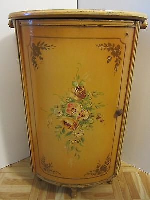 Antique Bent wood Sewing Floor Cabinet Spool Thread Hand painted Floral Mustard