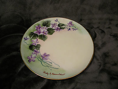 """Hutschenreuther Selb Bavaria  Plate-8""""-Hand Painted Purple Flowers,signed"""
