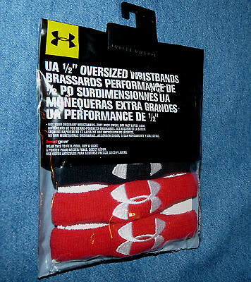 "UNDER ARMOUR 1/2"" Oversized Wristbands - 2 pair - 1 red 1 black - 1218016 - NWT"