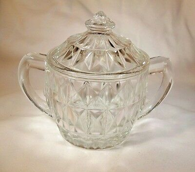 Jeannette Glass Co. Windsor Clear Crystal Sugar Bowl & Lid Cover!