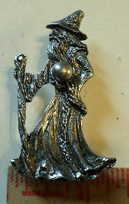 Vintage Wizard holding crystal ball pin unusual collectible old Magic pinback