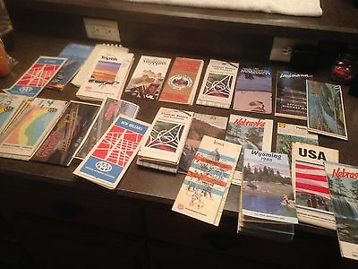 Lot Of 23 Vintage Road Us Maps Aaa States Cities 1970 S 1980 S Early 1990 S