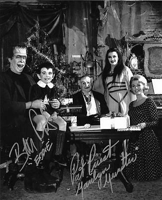 Munsters Christmas Family Photo Signed Pat Priest & Butch Patrick 8X10 Autograph