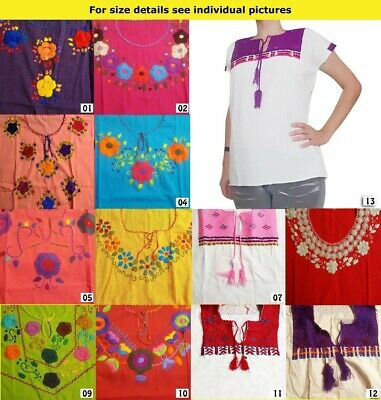 CHRISTMAS Authentic Hand made embroidered ladies Mexican blouse Chiapas