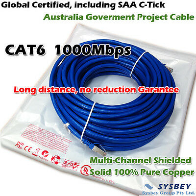 Premium SAA Certified Cat6 Network Cable RJ45 LAN Ethernet 10M to 50M Solid Copp