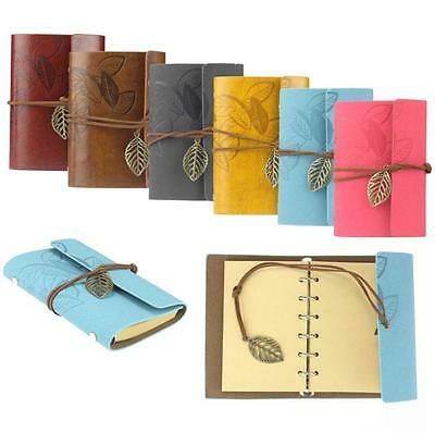 Vintage Leaf Classic Leather Cover Loose Leaf Blank Notebook Journal Diary Gift