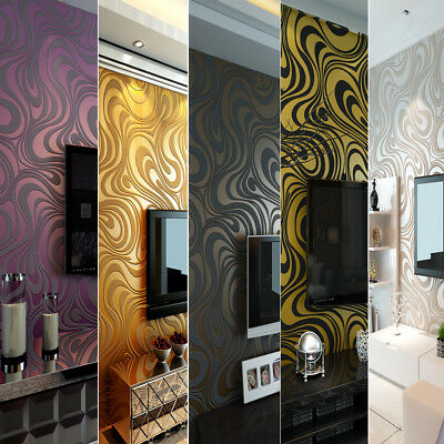 Modern Luxury Abstract Curve 3D Wallpaper Roll Flocking Striped 0.7m*8.4m=5.88㎡
