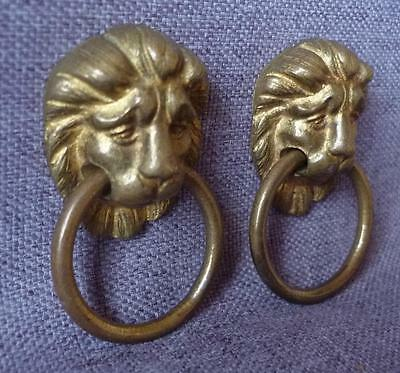Vintage french pair of drawer handles early 1900's made of bronze lions