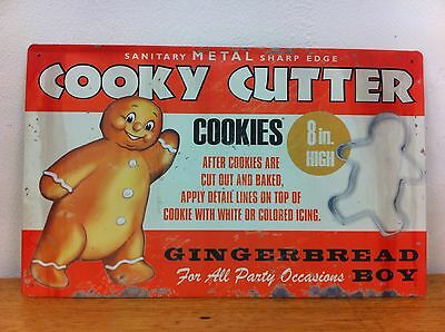 Vintage Antique Retro Style Tin Metal Sign Cookie Cutter Old Advertisement Melb