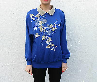 Vintage 80s/90s Floral Embroidered Blue Sweatshirt Sweater Collar Cotton S M