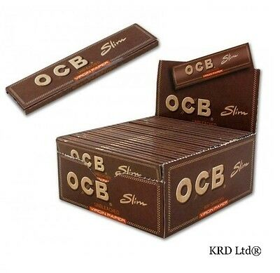 OCB UNBLEACHED VIRGIN BROWN Slim King Size Rolling Papers 50 Booklets FULL BOX