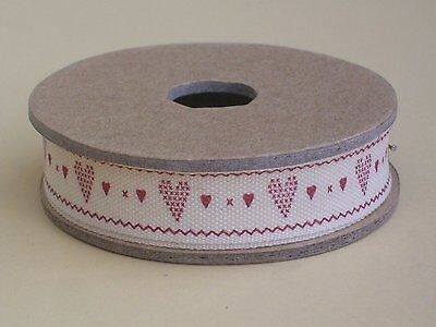 East of India red hearts ribbon Christmas gift wrapping 3 metre spool