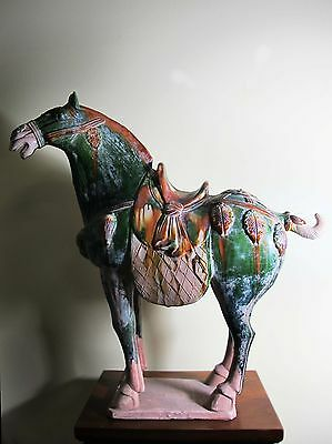 Chinese 28 inches Tang Style Sancai 3 Color Porcelain Pottery Horse Statue