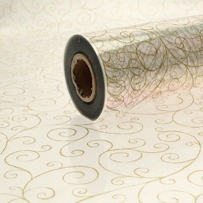 Cellophane Hamper wrapping Gold scroll pattern 80cm wide choose your length