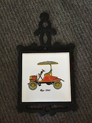 "Vintage Small Cast Iron Trivet With Antique 1905 REO Car Ceramic 3"" Tile Coaster"