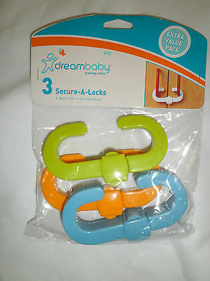 Dream Baby Secure A Lock Extra Value 3 Pack Cupboard Lock Assorted Colours
