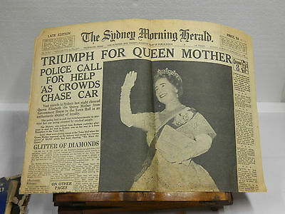 1958 The Sydney Morning Herald Triumph For Queen Mother 2 Pages Late Edition