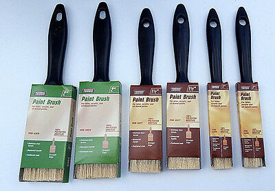 "Set Of 6 Synthetic Paint Brushes Assortment All Purpose Sizes 1"" 1.5"" 2"""