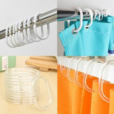 12 Shower Curtain Hook Hanger Ring Bath Drape Loop Clasp Clip Glide Replacement