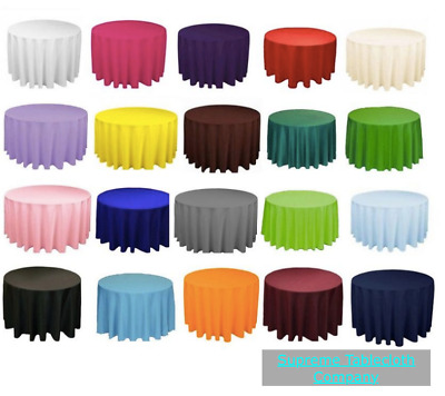 """10 LOTS 120"""" inch Tablecloth ROUND 100% Polyester Overlay 8 COLORS 5 ft table"""
