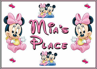 Personalised Baby Minnie Mouse Placemat & Coaster, Xmas Gift Stocking Filler
