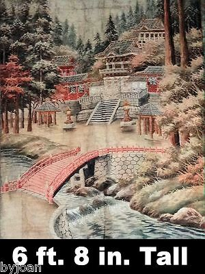 Rare Tapestry Depiction of Circa 1617 Shrines at NIKKO JAPAN