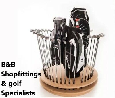 Golf Club Shop Retail Bag Display Oak Stand Holds 40 Clubs - Fully Assembled!!