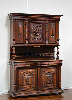 55610 : Antique French Renaissance Henry II Walnut Buffet Cabinet Sideboard