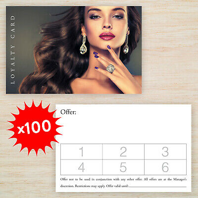 100 x Quality Loyalty Cards Hairdresser Salon Double Sided with Storage Box!