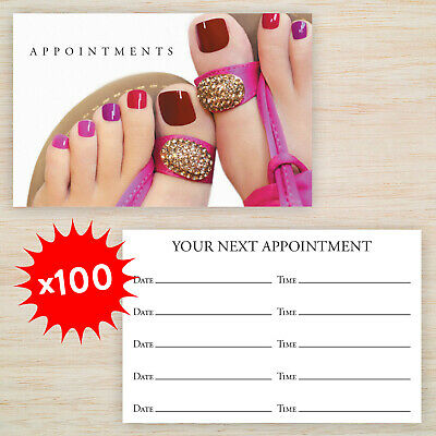 100 x Appointment Cards Nail Technician Manicure Pedicure & storage box Freepost