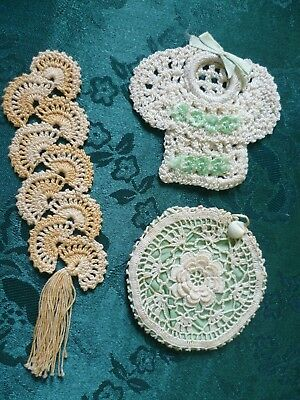 3 X Vintage Small Hand Made  Pretty Design Items Crocheted So Cute